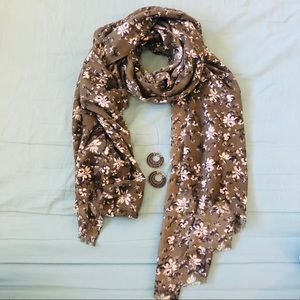 Accessories - Olive Green Flower Print Scarf